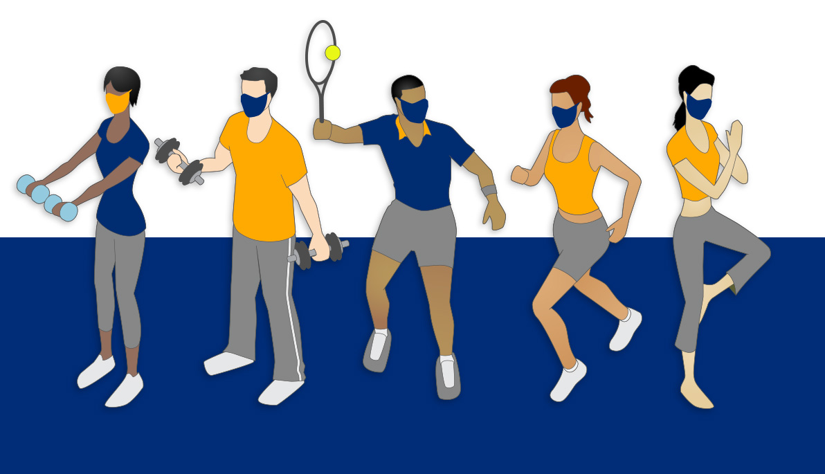 Whimsical illustration of people playing sports.